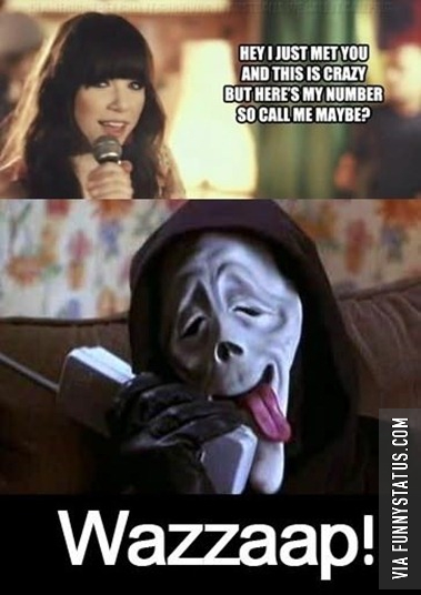 hey i just met you and this is crazy but heres my number so call me maybe scream wazzup